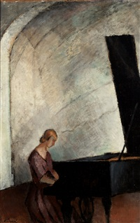 by the grand piano by alvar cawen