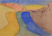 landschaftliche strukturen, mit blauer bahn by hermann glöckner