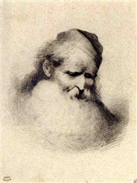 head of a bearded man wearing a cap by théodore valerio
