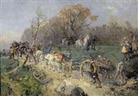 soldaten mit pferdetreck und kanone by paul burmeister