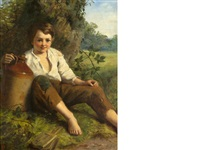 boy resting by a tree by john wells smith