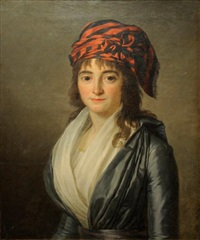 jeune fille au turban rouge et noir by marie-victoire lemoine