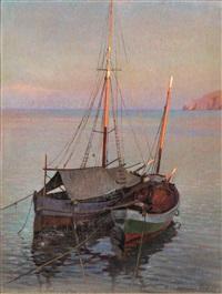 marina con barca di pescatori by llewelyn lloyd