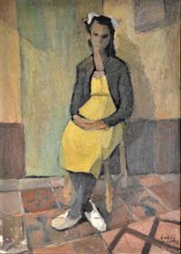 mujer sentada by lobo (luis a.) de la vega