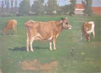cows in a meadow, buildings and trees in the background by thomas allen jr.
