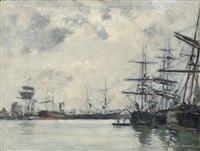 port de mer. un bassin. effet du matin by eugène boudin