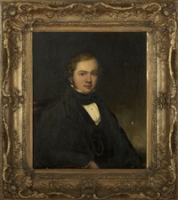 portrait of a gentleman wearing a black coat by charles ambrose