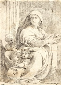maria mit dem jesuskind und johannesknaben by lodovico carracci