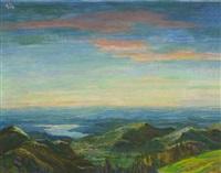 abendlandschaft am tegernsee (+ sitzende frau, sketch, verso) by hans gott