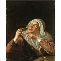 a woman drinking from a phial by petrus staverenus