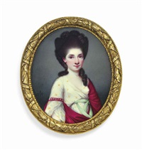 a young lady, in sprigged white dress with peppermint green sash, red cloak draped over her left shoulder and fastened by a pearl-set armlet on her right arm, upswept dark hair dressed in ringlets by henry spicer