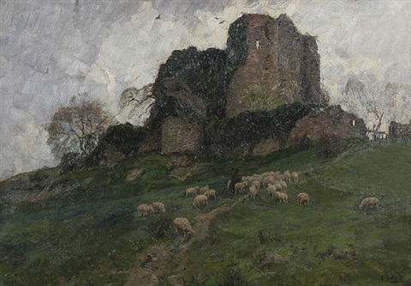 hirte mit seiner schafherde bei der ruine nothberg in der eifel by carl jutz the younger