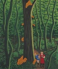 sous bois, l'arbre aux champignons by camille bombois