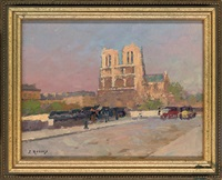 notre dame at sunset by jules ernest renoux