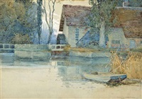 the mill house at guys cliffe on the river avon by arthur claude strachan