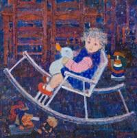 enfant sur une chaise berçeuse by fons roggeman