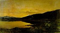 paesaggio lacustre con pastorella e gregge by mario viani d'ovrano