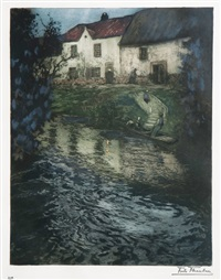 evening in audenarde by frits thaulow