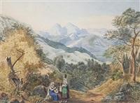 rastende gruppe in hügeliger campagna (+ befestigungsmauer bei einem abhang in campagnalandschaft, wc over pencil; 2 works) by wilhelm g. groos