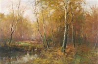 a woodland stream in the new forest by frederick golden short