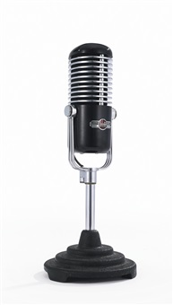 univel ribbon microphone, model w1248, and table stand by webster