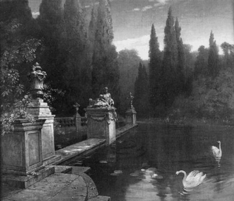 italian pool with statuary and swans by carlo chiostri