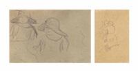 deux femmes aux chapeaux (+ deux paysannes; 2 works) by pierre bonnard