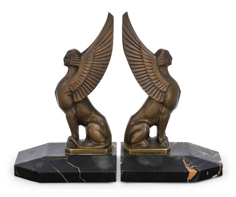 sphinx bookends (pair) by maurice frecourt