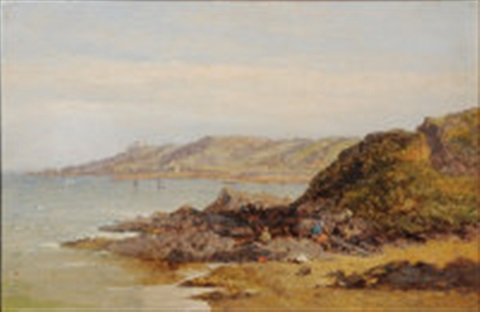 coastal scene with wreckers shipping and headland buildings by james holland
