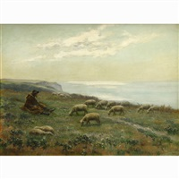 sheperd with his flock on the coast of brittany, france by louis le poitevin