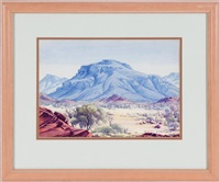 untitled - landscape in the flinders ranges by albert namatjira