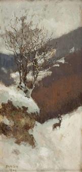 winterlandschaft mit hirsch by desiderius fangh