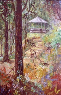 colorful wooded landscape with steps leading to a gazebo by coulton waugh