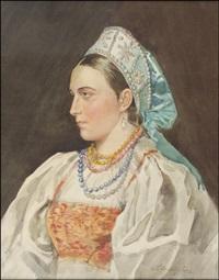kansallispukuinen nainen by stephan fedorovich alexandrovski