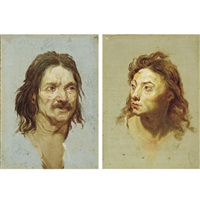head of a man with a moustache (+ head of a young man turned to his right; pair) by étienne-louis advinent