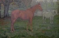 horses in a meadow by j. denovan adam jr.