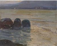 marina con paese costiero by giovanni lentini