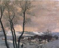 vinterlandskab med udsigt over en by by hesketh (eric h.) hubbard