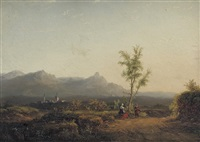 travellers in an extensive landscape by carl eduard ahrendts