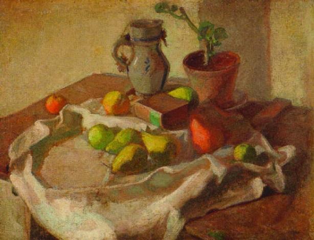 früchtestilleben mit buch krug und topfpflanze by ernst friedrich knauf