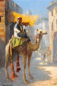 kamelreiter in einer orientalischen stadt by tony binder