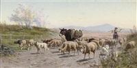 herding sheep through the roman campagna by alfredo de simoni