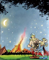 astérix, scène du banquet (double-sided, for poster) by goscinny and uderzo