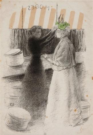 le chapeau vert für études de femmes by félix edouard vallotton