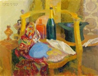 still life with golden chair (+ man with globe; 2 works) by jack kramer