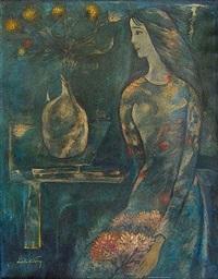 jeune femme aux fleurs by dinh cuong