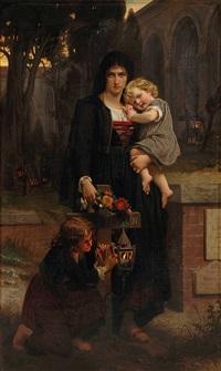 mutter mit ihren beiden kindern am grab des vaters by pierre auguste cot
