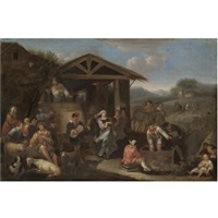 an italianate landscape with peasants making merry and pressing grapes by dirk helmbreker