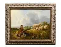 sheppard resting with dog and sheep landscape by leendert de koningh