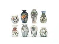 blue dawn landscape vase (+ wisteria vase; 2 pieces) by lise b moorcroft